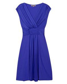 Jigsaw London Pleated Silk Tie Dress in Bluebell
