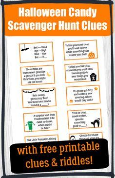 Scavenger Hunt Riddles, Halloween Scavenger Hunt, Scavenger Hunt For Kids, Halloween Cans, Halloween Party, Treasure Hunt Clues, Creative Activities For Kids, Trick Or Treat, Indoor Games