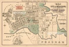 Vintage map of Pasadena - Old city map restored, fine print on paper or canvas Melbourne Map, Melbourne Victoria, Victoria Australia, Vintage Maps, Vintage Wall Art, City Maps, Old City, Old Photos, How To Plan