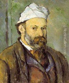 Self Portrait In A White Cap Oil Painting - Paul Cezanne