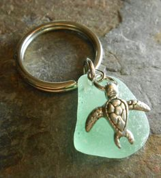 Sea Glass Keychain  Beach Glass Key Ring  HONU by SeaFindDesigns, $20.00