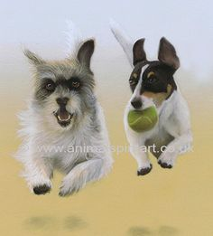 Pastel commissioned portrait of two exuberant dogs for a special birthday. More at AnimalSpiritArt.co.uk/petportraitgallery.html