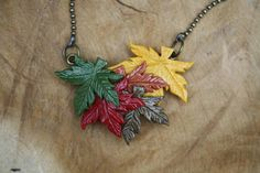 Autumn maple leaf / maple leaves necklace polymer clay