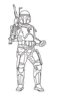 jango fett coloring page from attack of the clones category select from 24848 printable crafts - Boba Fett Coloring Pages Printable