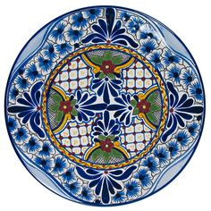 Talavera dinner plates, handmade and hand painted by Mexican ceramic artists. Use as dinnerware or as wall hangings. Dozens of colorful designs available.