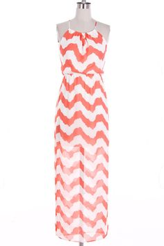 Coral and White Zig Zag High Low Dress http://www.mypinnedboutique.com/White-and-Coral-High-Low-Dress-KD5492.htm