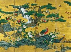 紙本金地著色四季花鳥図〈狩野元信筆/六曲屏風〉 文化遺産オンライン