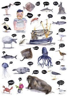 """Digitaldruck - ABC-Poster """"Nordsee"""" - ein Designerstück von und-hopp bei DaWanda"""