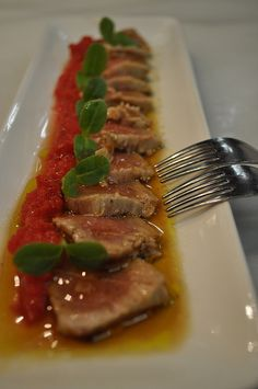 seared & marinated tuna steak with roast tomato sauce