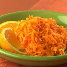 Carrot Saute with Ginger & Orange:  Spiked with fresh ginger and orange juice, sauteed grated carrots make an appealing, textural side dish. To speed up preparation time, use a food processor to grate the carrots or purchase them already grated.