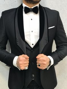 Collection: Spring – Summer 2020 Product: Slim Fit Tuxedo Color Code: Black Size: Suit Material: Viscose, Polyester Machine Washable: No Fitting: Slim-fit Package Include: Jacket, Vest, Pants Gifts: Bow Tie Wedding Dresses Men Indian, Wedding Men, Wedding Suits, Slim Fit Tuxedo, Tuxedo For Men, Tuxedo Vest, Mens Fashion Suits, Mens Suits, Groom Fashion