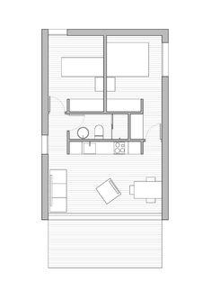 Superificie construida : 54 m2 Dormitorios: 2 Baños: 1 Nº de plantas: 1 Vivienda mínima con dos dormitorios, ideal para ampliaciones o casas de campo. La volumetría a dos aguas nos recuerda las viviendas tradiconales de cubierta inclinada de teja. En esta ocasión damos un aire contemporáneo a la propuesta, mediante un volumen revestido, en toda su superficie, con el mismo material. El frente orientado a sur deja ver enmarcada la volumetría de la vivienda