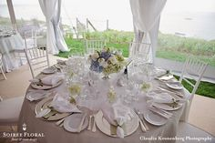 Formal Tablescape in Blue, White and Green by Soiree Floral - www.soireefloral.com #soireefloral #nantucket #wedding