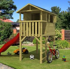 This Wooden Childrens Playhouse is a free standing den on stilts, it measures 1.2 x 2.40m including terrace area and is made from 16mm impregnated pine. Your kids will love this outdoor garden den which also features a slide. Features: 16mm thick cladding Stilt Base Roofing Felt Fitting Kit Pre-assembled sections are supplied Impregnated Pine Dutch Standards Dimensions: Length - 120cm Width - 240cm Ridge Height - 238cm Includes Roofing Felt, Wooden Floor and fixing Kits. Delivery The…