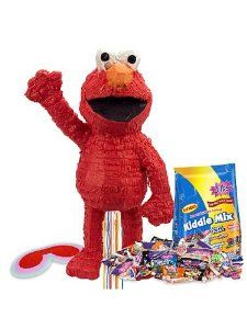 Elmo Pinata Kit by COSTUME SUPERCENTER. $25.73. Add to the fun of your Sesame Street themed birthday party with the Elmo Pinata Kit. This party supply includes a large red Elmo pinata, a red, white and pink blindfold, and a three pound bag of assorted candy. Its pull-string design means it's safe for small children, and can be used inside or outside. Since it doesn't have to be destroyed, you can use it throughout the entire party as a centerpiece. Elmo is one of the best-kno...