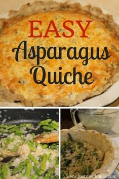 This fresh asparagus quiche is the perfect anytime meal, made with eggs, cheese, and fresh asparagus. Asparagus Quiche, Fresh Asparagus, Asparagus Recipe, Easter Dinner Recipes, Brunch Recipes, Healthy Dinner Recipes, Breakfast Recipes With Asparagus, Vegetarian Recipes, Veggie Appetizers