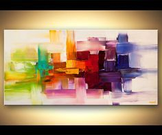 """Modern colorful Abstract Giclee PRINT on canvas, Embellished and Ready to Hang, Art  by Osnat - 48""""x24"""""""