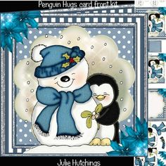 Penguin Hugs Card Front Kit on Craftsuprint designed by Julie Hutchings - Gorgeous card front kit with 4 pages to print, cut and assemble to make a lovely Christmas card for all. The kit includes the main card front, layer and decoupage, insert and cut and fold gift tag sentimentsHappy ChristmasSon With LoveHusband With LoveGrandson With Love - Now available for download!