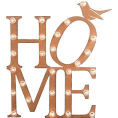 Dot & Bo HO-ME Marquee Sign ($100) ❤ liked on Polyvore featuring home, home decor, wall art, old fashioned signs, orange wall art, text signs, bird wall art и bird home decor