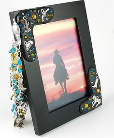Embellishing Clay Picture Frame featuring TierraCast western themed charms. Design by Beki Haley