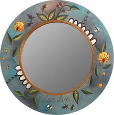 "Large Circle Mirror – Large round mirror with floral motifs and garden theme, ""Love Life"" Mirror Mosaic, Diy Mirror, Decorate Mirror, Large Circle Mirror, Primitive Wood Signs, Tinted Mirror, Small Wall Mirrors, Paper Quilling Patterns, Pottery Painting Designs"