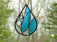 Stained glass raindrop Spring rain tear drop #rain #spring #teardrop #suncatcher #raindrop by DesignsStainedGlass