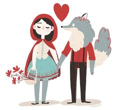 Red riding hood in love card by frannerd on Etsy