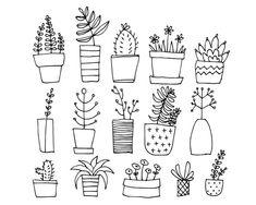 Doodle Drawings, Doodle Art, Easy Drawings, Clipart, Floral Doodle, Cactus Doodle, Fleur Design, Plant Drawing, Flower Doodles