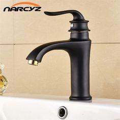 Fancy Single Handle Brass Bathroom Basin Sink Mixer Black Plating Tap Faucet B3208 #Affiliate