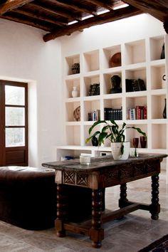 built-in shelves + rustic finca in Ibiza