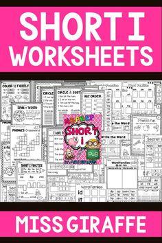Short I worksheets for fun vowels practice! Short I Worksheets, Blends Worksheets, Vowel Worksheets, Short Vowel Activities, Sorting Activities, Vowel Practice, Reading Practice, Word Sorts, Short Vowels