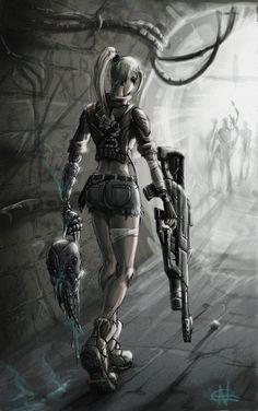 Dystopia, Girl Power, Cyberpunk, Cyborg, Prosthetic Hand, Girl with Gun, Successful hunting by ~AspectusFuturus on deviantART