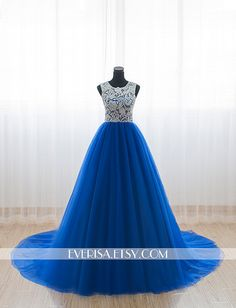 Custom Elegant White Lace High neck Royal blue Tulle A by Everisa