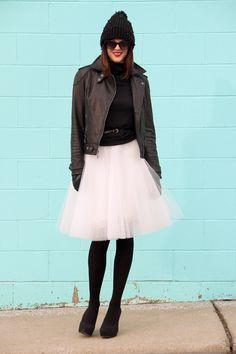 Blackturtleneck and tull skirt