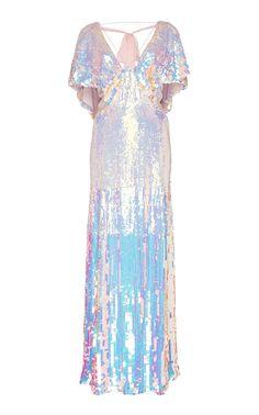 a2d7b3111a This **Temperley London** Bardot Metallic Dress features front slits and an  enhanced v-neckline.