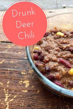Keep Warm With a Bowl of Crockpot Drunk Deer (or Beef) Chili There is nothing better than a warm bowl of chili on a cold day. Check out this easy, healthy drunk deer chili recipe Deer Recipes, Chili Recipes, Slow Cooker Recipes, Crockpot Recipes, Soup Recipes, Cooking Recipes, Game Recipes, Venison Chili Recipe Crockpot, Turkey Recipes