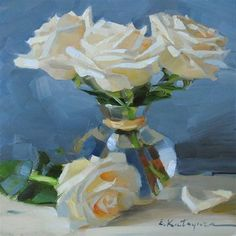 """White Roses"" - Original Fine Art for Sale - © Elena Katsyura"