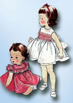 1950s Vintage Simplicity Sewing Pattern 4169 Toddler Girls Smocked Dress Size 3 #Simplicity #DressPattern