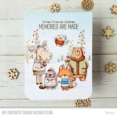 My Favorite Things - Clear Stamp - BB Sweater Weather in the clear stamp set. Woodland creatures donning comfy gear ranging from pullovers Sweater Weather, Scrapbooking, Wood Stamp, Mft Stamps, Outline, Woodland Creatures, Getting Cozy, Winter Cards, Dibujo