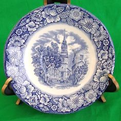 Liberty Blue saucer Old North Church Marked Made England Blue White Historic
