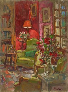 Red Wall, Red Roses.  Susan Ryder RP NEAC   Panter & Hall