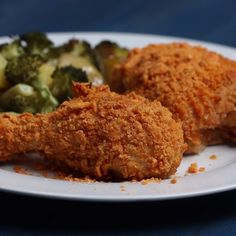 Cheddar Oven Fried Chicken with Roasted and Seasoned Broccoli-Potato Mix