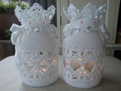 Ideas For Crochet Bag Holder Owl Filet Crochet, Diy Crochet, Crochet Doilies, Crochet Angels, Crochet Stars, Crochet Decoration, Crochet Home Decor, Crochet Jar Covers, Crochet Christmas Ornaments