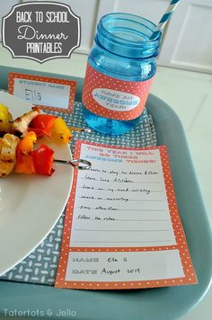 "Back to School Dinner ""Awesome"" (Free) Printables!! - Tatertots and Jello"