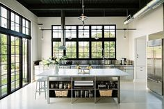 Check out 25 whimsical industrial kitchen design ideas and you'll find some inspiration to design an industrial-style kitchen there. Loft Industrial, Industrial Kitchen Design, Interior Design Kitchen, Industrial Kitchens, Industrial Windows, Industrial Living, Industrial Apartment, Kitchen Designs, Industrial Bedroom