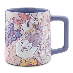"Officially Licensed Disney Daisy Duck Coffee Mug ""Crazy Over Daisy"" Featuring Genuine Vintage Walt Disney Animation Art"