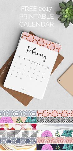 Free 2017 Printable Calendar with a new pattern header on each month