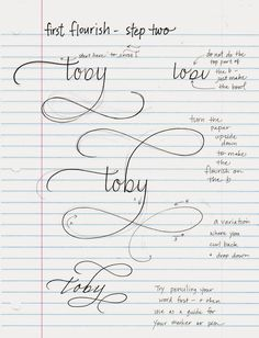 Hopefully you have done about 100 flourishes on a j, y or g. This page shows how you make the same flourish on a b, h, d, or k. You simply...