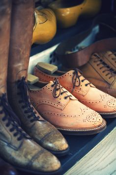 Brogues at Nigel Cabourn's studio.
