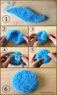Round Knit Scrubby Pattern - Crafty: Knitting - Round Knit Scrubby Pattern How to knit a round scrubby – Free knitting pattern for a simple pot and pan scrubber Scrubbies Crochet Pattern, Knitted Dishcloth Patterns Free, Knitted Washcloths, Knit Dishcloth, Crochet Yarn, Knitting Patterns Free, Free Knitting, Loom Patterns, Tunisian Crochet